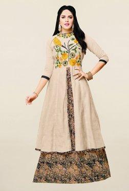 Saree Mall Cream Semi Stitched Cotton Indo Western Lehenga