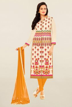 Saree Mall Cream & Yellow Embroidered Cotton Dress Material