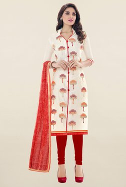 Saree Mall Off White & Red Embroidered Cotton Dress Material