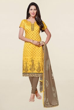 Saree Mall Yellow & Brown Printed Cotton Dress Material