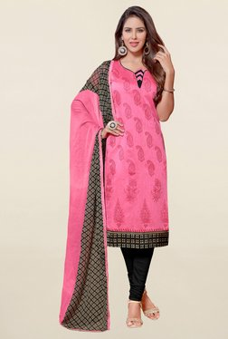 Saree Mall Pink & Black Paisley Print Cotton Dress Material