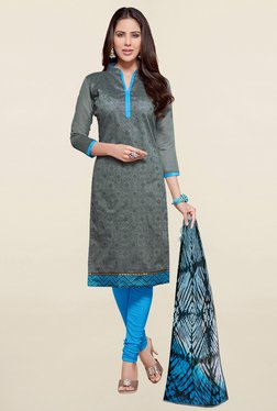 Saree Mall Grey & Sky Blue Printed Cotton Dress Material
