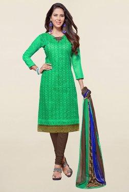 Saree Mall Green & Brown Printed Cotton Dress Material