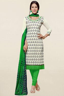 Saree Mall Off White & Green Printed Cotton Dress Material