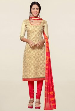 Saree Mall Beige & Coral Printed Cotton Dress Material