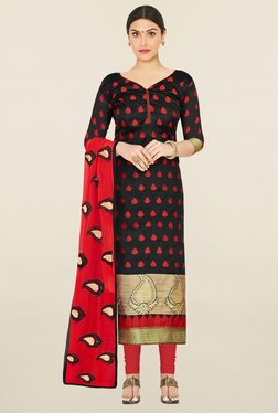 Saree Mall Black & Red Self Designed Jacquard Dress Material