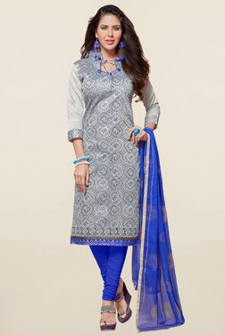 Saree Mall Grey & Blue Printed Cotton Dress Material
