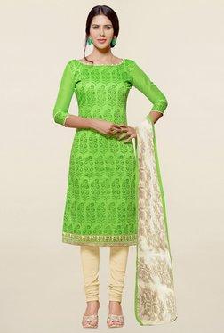Saree Mall Green & Cream Printed Cotton Dress Material