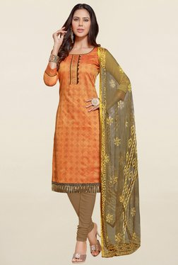 Saree Mall Orange & Brown Printed Cotton Dress Material