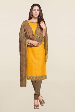 Saree Mall Yellow & Brown Self Print Cotton Dress Material