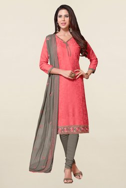 Saree Mall Coral & Grey Self Print Cotton Dress Material
