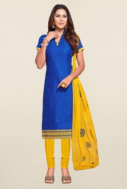 Saree Mall Blue & Yellow Self Print Cotton Dress Material