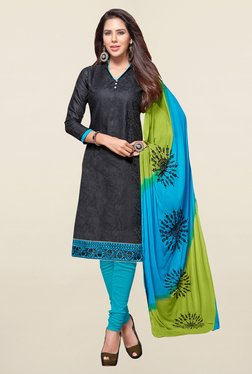 Saree Mall Black & Sky Blue Self Print Cotton Dress Material