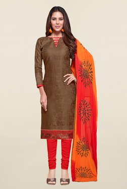 Saree Mall Brown & Red Self Print Cotton Dress Material