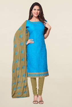 Saree Mall Sky Blue & Khaki Self Print Cotton Dress Material