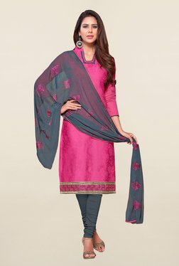 Saree Mall Pink & Grey Self Print Cotton Dress Material