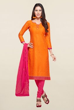 Saree Mall Orange & Pink Self Print Cotton Dress Material
