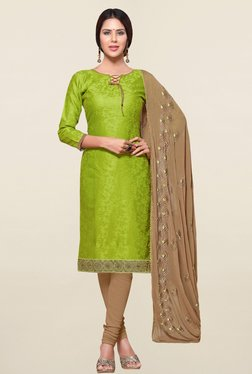 Saree Mall Green & Beige Self Print Cotton Dress Material