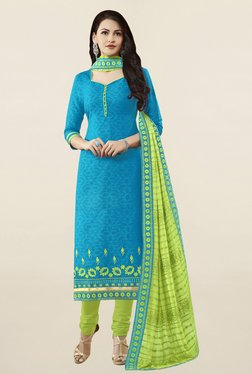 Saree Mall Blue & Green Self Print Cotton Dress Material