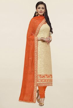 Saree Mall Beige & Orange Self Print Cotton Dress Material