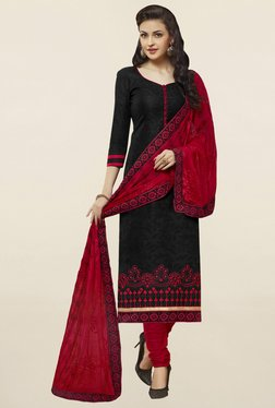 Saree Mall Black & Red Self Print Cotton Dress Material