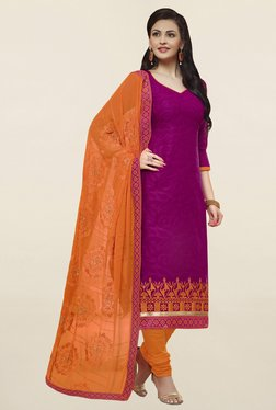 Saree Mall Magenta & Orange Self Print Cotton Dress Material