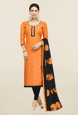 Saree Mall Orange & Black Embroidered Cotton Dress Material