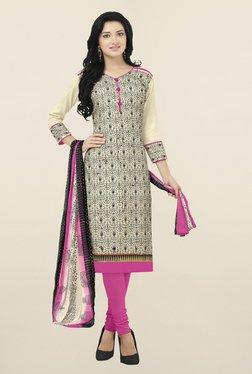 Saree Mall Cream & Pink Printed Cotton Silk Dress Material