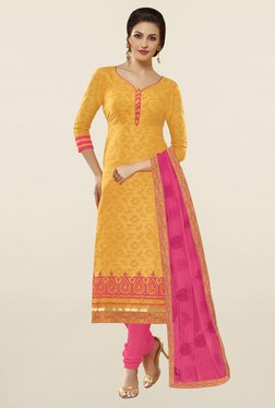 Saree Mall Yellow & Pink Self Print Cotton Dress Material