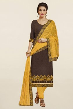 Saree Mall Brown & Yellow Self Print Cotton Dress Material