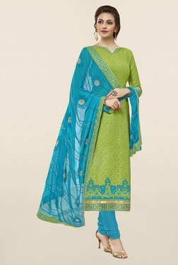 Saree Mall Green & Blue Self Print Cotton Dress Material