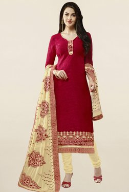 Saree Mall Red & Cream Self Print Cotton Dress Material