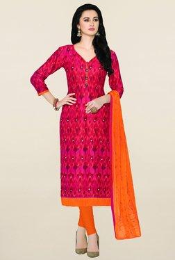 Saree Mall Pink & Orange Printed Cotton Dress Material
