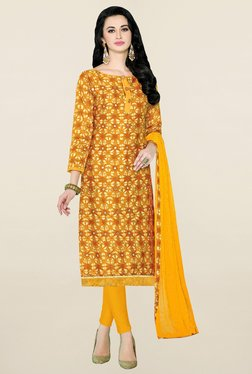 Saree Mall Yellow Printed Cotton Dress Material