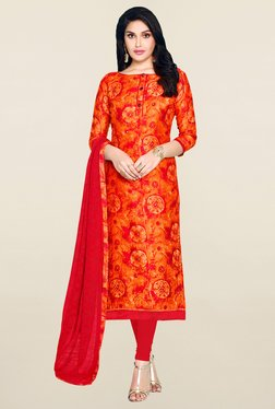 Saree Mall Orange & Red Printed Cotton Dress Material