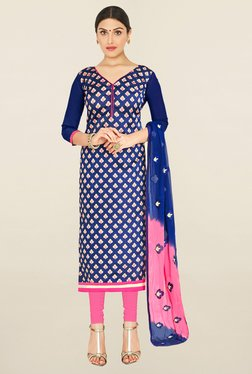 Saree Mall Blue & Pink Self Designed Jacquard Dress Material