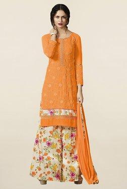 Saree Mall Orange & Off White Pure Georgette Dress Material