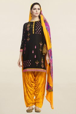 Saree Mall Black & Yellow Cotton Patiala Dress Material