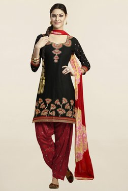 Saree Mall Black & Red Cotton Patiala Dress Material
