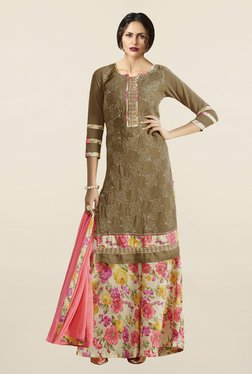 Saree Mall Brown & Peach Pure Georgette Dress Material