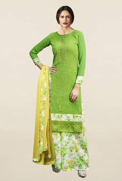 Saree Mall Green & Off White Pure Georgette Dress Material - Mp000000001174272
