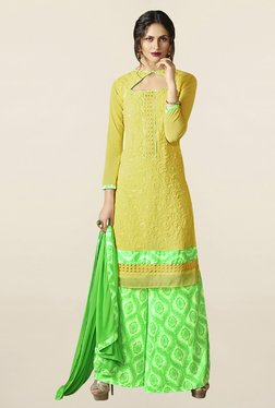Saree Mall Yellow & Green Pure Georgette Dress Material