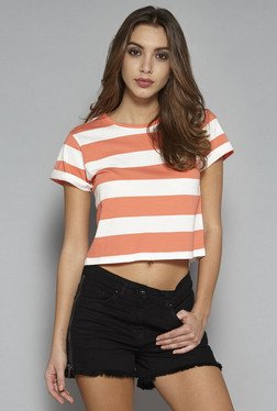 Nuon by Westside Coral & White Striped Cropped T Shirt
