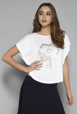 Nuon By Westside White Floral Print T Shirt