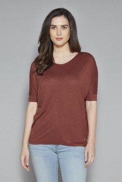 LOV By Westside Rust Textured Sesame T Shirt
