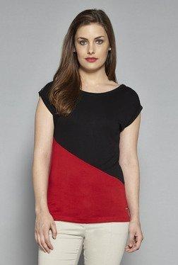 Wardrobe By Westside Red & Black Solid Top