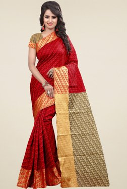 Nirja Creation Scarlet Cotton Silk Saree