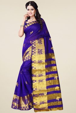 Nirja Creation Violet Cotton Silk Zari Saree