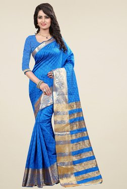 Nirja Creation Blue Cotton Silk Zari Saree With Blouse