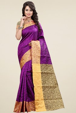 Nirja Creation Purple Cotton Silk Saree